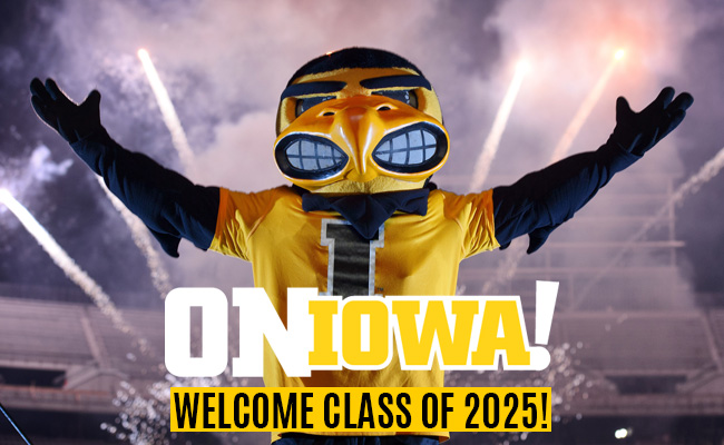 On Iowa! Welcome class of 2025! Herky with Fireworks